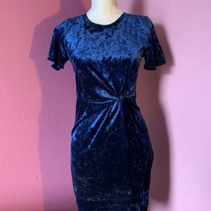 Sage the Label Velvet Navy Dress with Knot